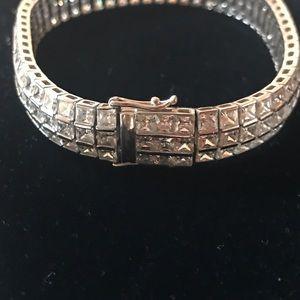 Jewelry - 14k 3 Row Diamond Tennis Bracelet w Cubic Zirconia